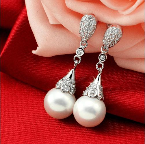 Classic Teardrop Pearl Bridal Earrings