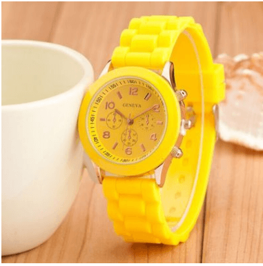 Geneva Fashion Water Resistance Quartz Watch - yellow