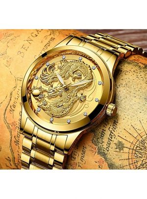 Dragon-Head Men Quartz Watches Waterproof - gold