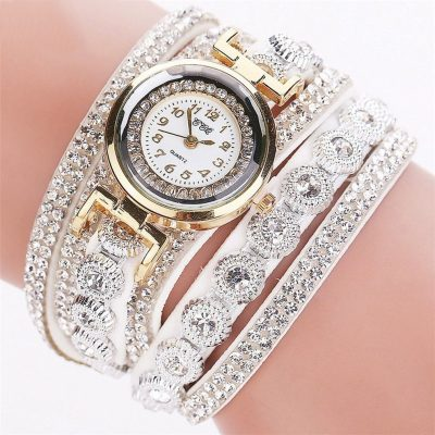 CCQ Multi Layer Studded Bracelet Wristwatch