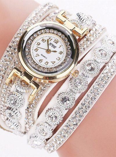 CCQ Multi Layer Studded Bracelet Wristwatch