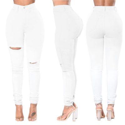 Sexy Women Fashion High Waisted White Hole Jeans