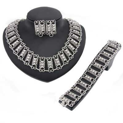Best Silver Plated Diamond Necklace Jewelry Set