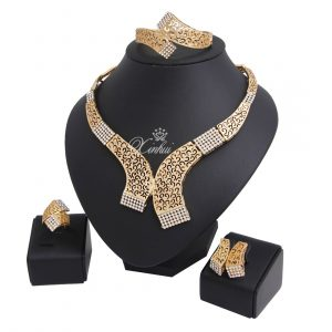 Gold Plated Diamond Necklace Jewelry Set