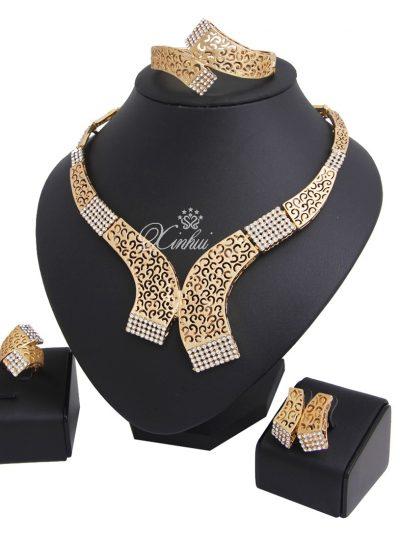 Gold Plated Diamond Necklace Jewelry Set