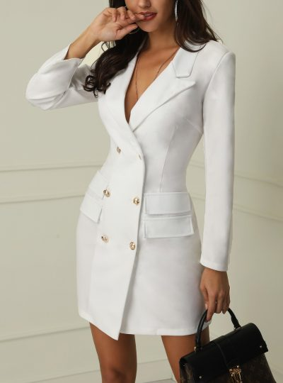 Women's Long Sleeve Double Breasted Button Blazer
