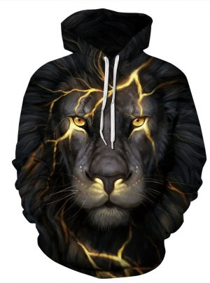 Black Lion 3D Digital Printing Hooded Sweater