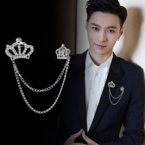 Double Crown Fashion Coat Brooch