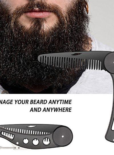 Portable folding knife beard omb