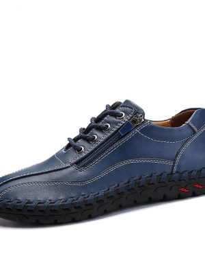 Men Hand Stitching Side Zipper Casual Leather Shoes