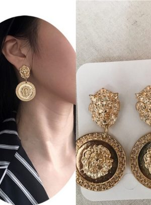 Embossed Lion Head Earrings