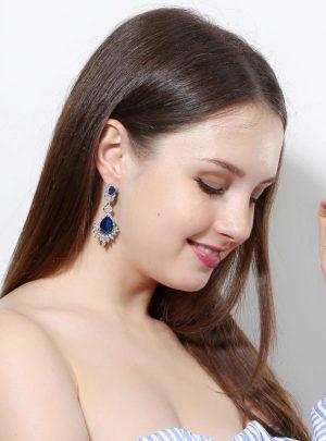 Long Bridal Wedding Big Drop Marquise Earrings1