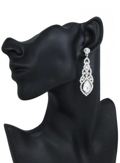 Long Crystal Wedding Earrings - white