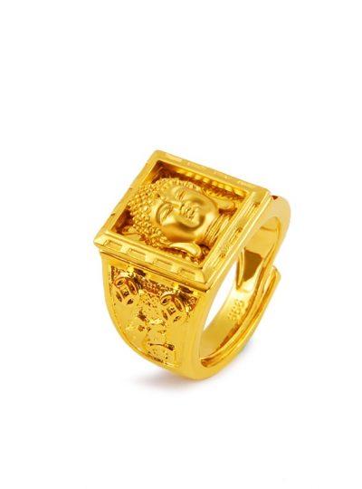 Golden Buddha Head Men Ring