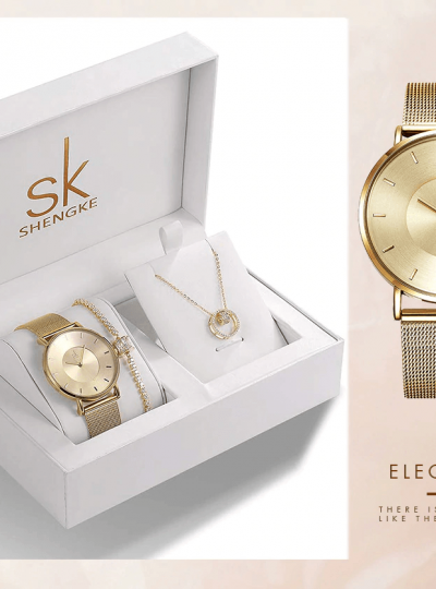 SK Luxury Design Earrings Necklace Watches Set