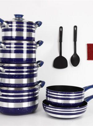household pot set with spatula wok soup pot frying pan